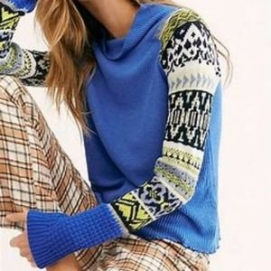 NWT Free People Blue Cozy Mock Neck Pullover